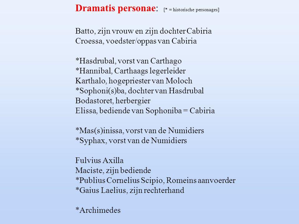 Dramatis personae: [* = historische personages]